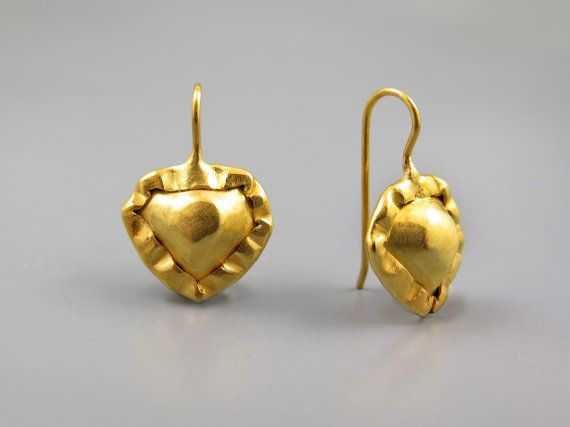 Gold heart earrings, love earring, Valentines day gift, Romantic gifts, Yellow Gold plated Jewellery, Jewelry Gift for her, Heart Jewelry
