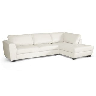 @Overstock - Orland White Leather Modern Sectional Sofa Set with Right Facing Chaise - Brighten up your living room with this white sectional sofa set. The material is white bonded leather that will last for years. The sofa is in two pieces to give you layout options. It also has non-marking feet so your floors won't get damaged.  http://www.overstock.com/Home-Garden/Orland-White-Leather-Modern-Sectional-Sofa-Set-with-Right-Facing-Chaise/7123379/product.html?CID=214117 $1,011.78
