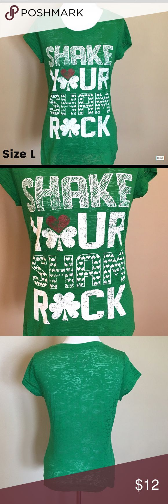 "Rocker Girl ""Shake Your Sham Rock"" T-Shirt Size L Excellent Condition! St. Patrick's Day/Shamrock Shirt Rocker Girl Tops Tees - Short Sleeve"