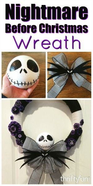This is a guide about making a Nightmare Before Christmas yarn wreath. For the fans of this popular movie, you can make a Halloween wreath using decorative elements from the film.