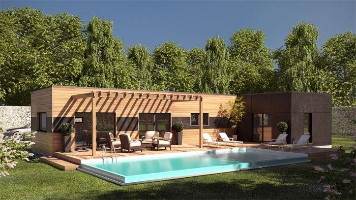 Maison ossature bois contemporaine T5 - plain pied - 98m2