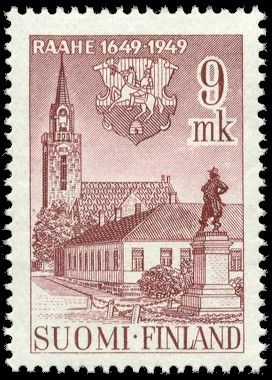 Postage stamp celebrating 300th anniversary of the city of Raahe, Finland. 1949.