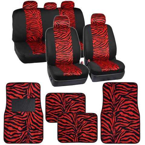 Two Tone Red Zebra Seat Covers Floor Mats For Car Truck SUV Auto Accessories