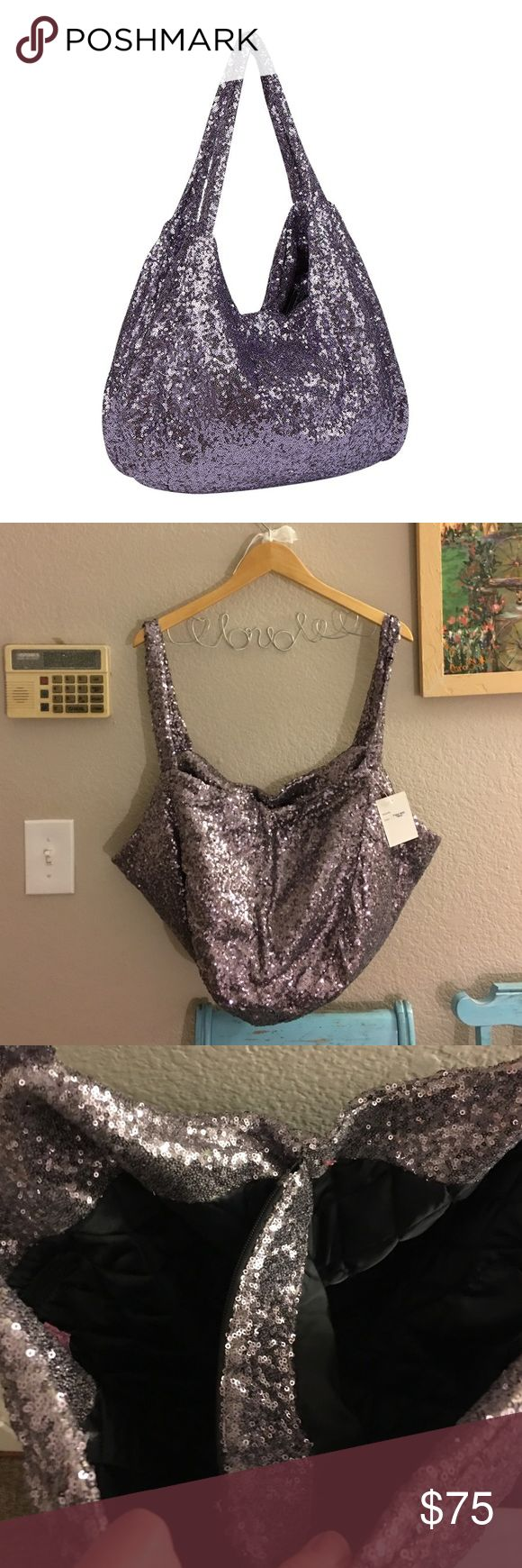 🎀🆕melie bianco Sequined Hobo Bag🎀 This is a gorgeous, pewter colored, sequined bag that inside is basically divided into 2 separate parts which are separated be a large zippered pouch. There's another zippered compartment on one side and in the other half are 2 open compartments for cell phones or makeup. Lined in quilted black, an absolutely gorgeous, standout bag!! Melie Bianco Bags Hobos
