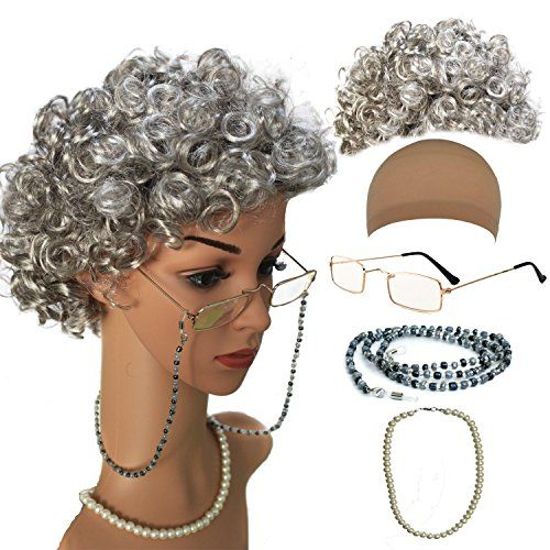 QNPRT Old Lady Costume Characters Set - Old Lady/Mrs. Santa Wig, Madea Granny Glasses, eyeglass Chains Holder and Cords Strap,FauxPearl Beads Choker Necklaces(Style-1) - Packet include: 1 x Old Lady Wig; 1 x Madea Granny Glasses; 1 x Eyeglass Chains Strap; 1 x Faux Pearl Beads Necklaces; 1 x Wig Cap