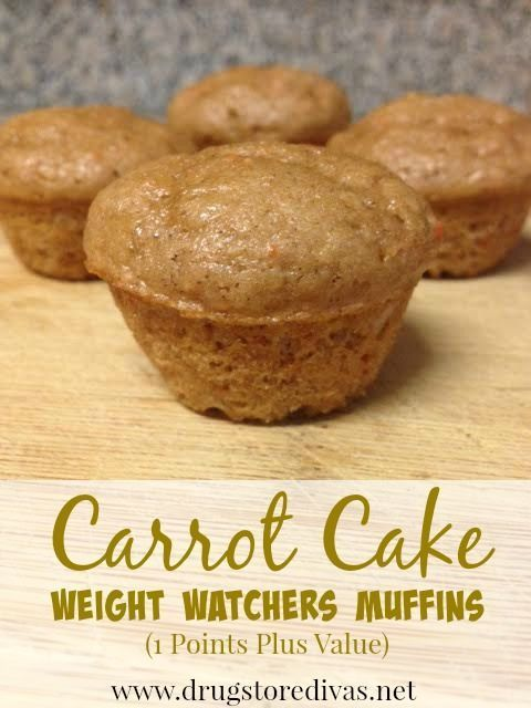 These Carrot Cake Weight Watchers Muffins are perfect when you're dieting. They're only 1 Points Plus Value or 2 Smart Points. Get the recipe at www.drugstoredivas.net.