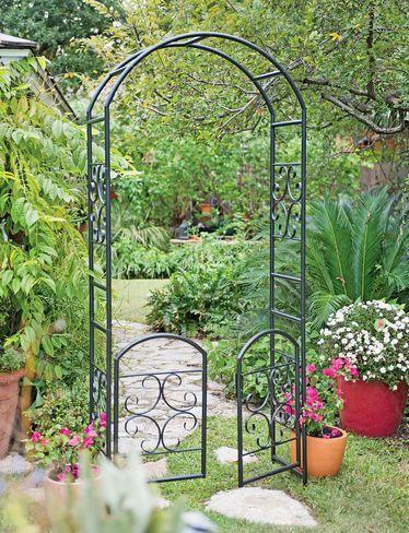 Metal Arbor - Laurel Garden Arbor with Gate - Trellis with Gate