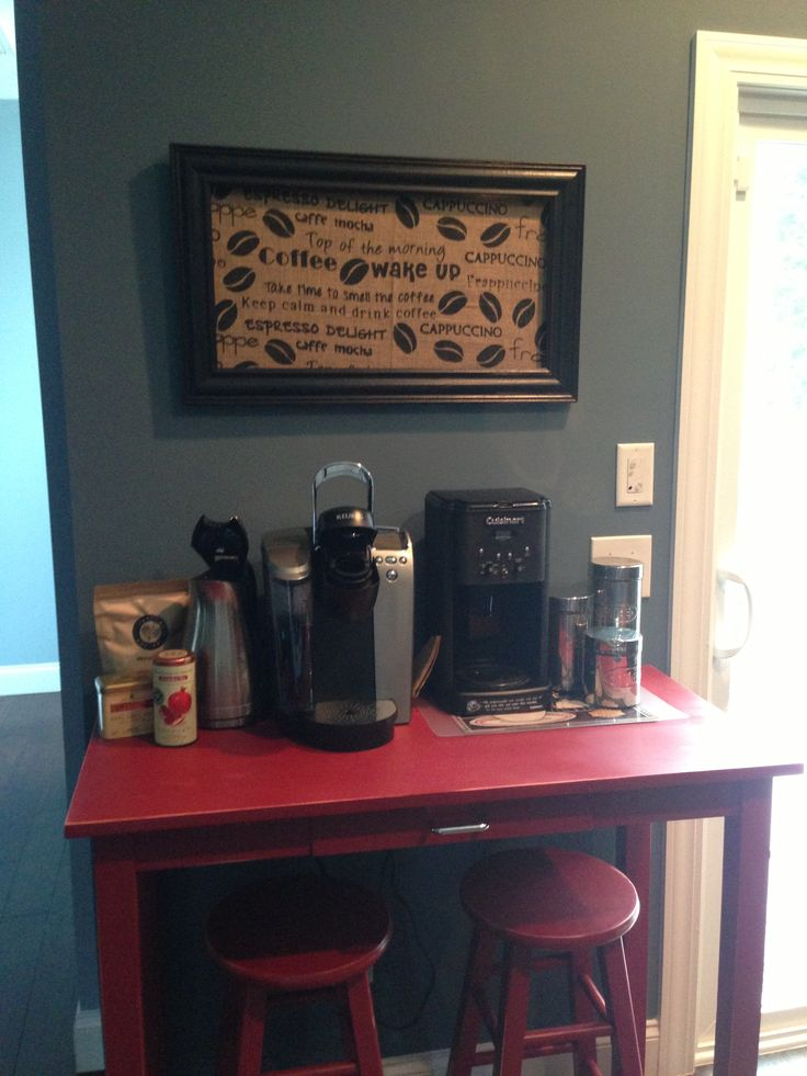 Coffee station burlap from hobby lobby with black frame for Coffee station furniture