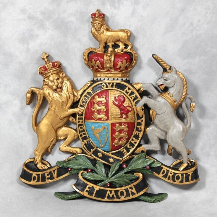 Shop for large wall hanging Coat of arms plaque, signs, family Dieu et Mon Droit, wall hanging vintage signs at Smithers of Stamford call 01780 435060