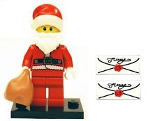 LEGO SANTA minifig Babbo Natale con supporto, sacco 7 2 lettere regalo di Natale NUOVO