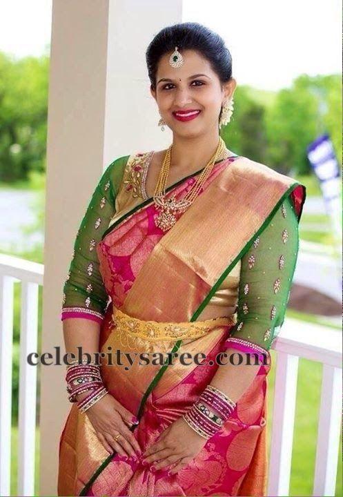 Silk-saree-with-net-blouse.jpg (497×720)