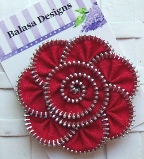 Boutique Red Zipper Flower Hair Clippie by Balasadesigns on Etsy