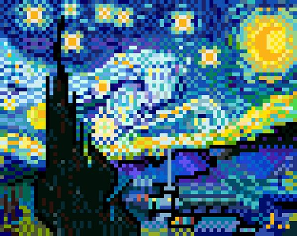 #Pixelart (The Starry Night) - Constellation style by jaebum joo, via Behance