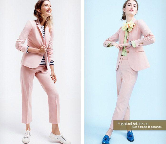брючный костюм для женщин, розовый костюм, брючный женский, модные  тенденции 2016, актуальный образ весна 2016, лето 2016, пиджак … ad109e111f1