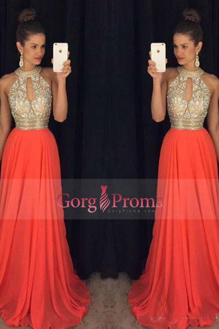 2017 Chiffon A Line Halter Prom Dresses Beaded Bodice Sweep Train