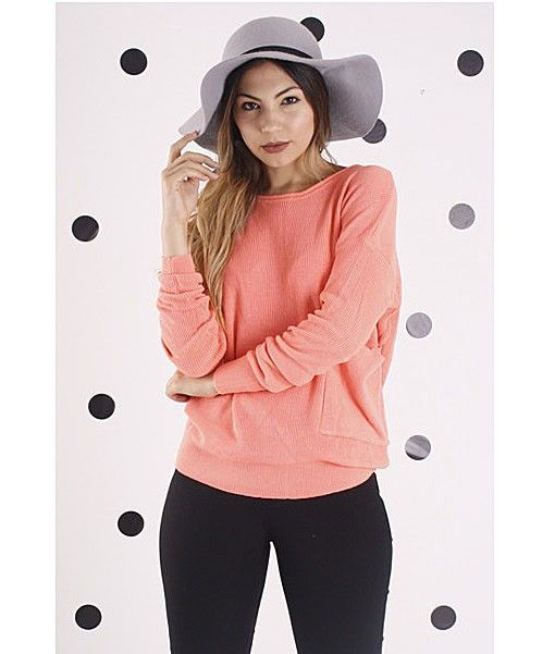 Meg Lightweight Knit with Pocket – Coral $ 54.47 knit • relaxed • love | f r e e   p o s t | A great wardrobe addition this season.