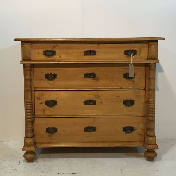 Large Antique Pine Column Chest Of Drawers (R7374C)