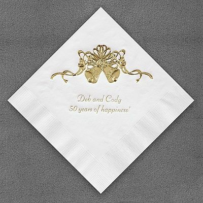 50th Wedding Anniversary Gold Bells Paper Napkins Imprinted With Your Names Etc Feature Personalized