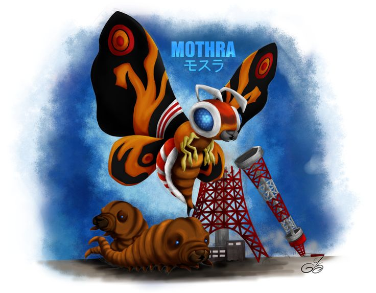...final colored version of Mothra and her children going around Tokyo Tower. This time I tried a new technique by painting without a fin line art. It was harder and it took a lot longer (I'm still learning to draw and paint digitally) but I must say I'm very happy with the end result. Next: King Ghidorah!