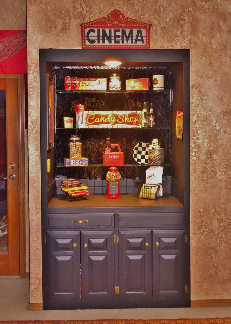 Snack bar for theater, movie room- love the walls- dining room for sure!