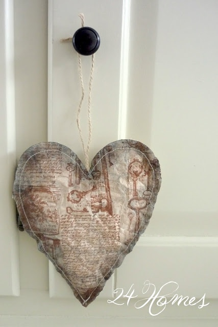 Creabest: Vintage hart van gevuld papier