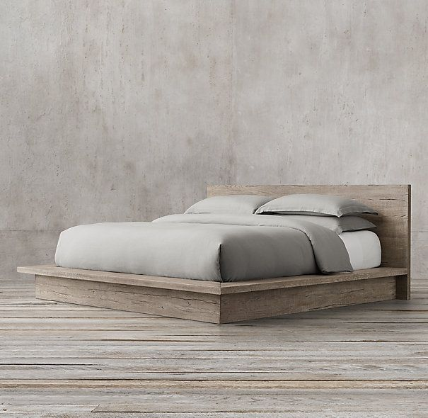 Gorgeous!  But compeletely unaffordable :(    RH: Reclaimed Russian Oak Platform Bed without Footboard