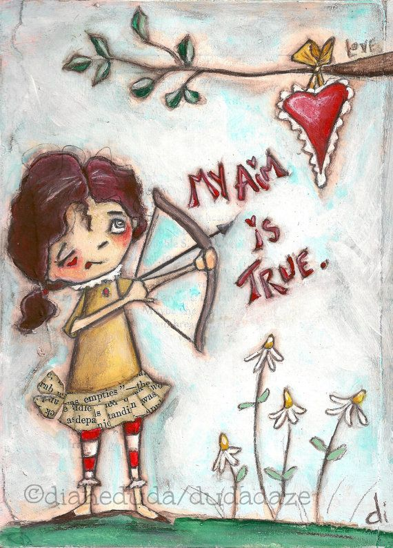 Original Painting on Wood  by Diane Duda  My Aim Is True  ©dianeduda/dudadaze