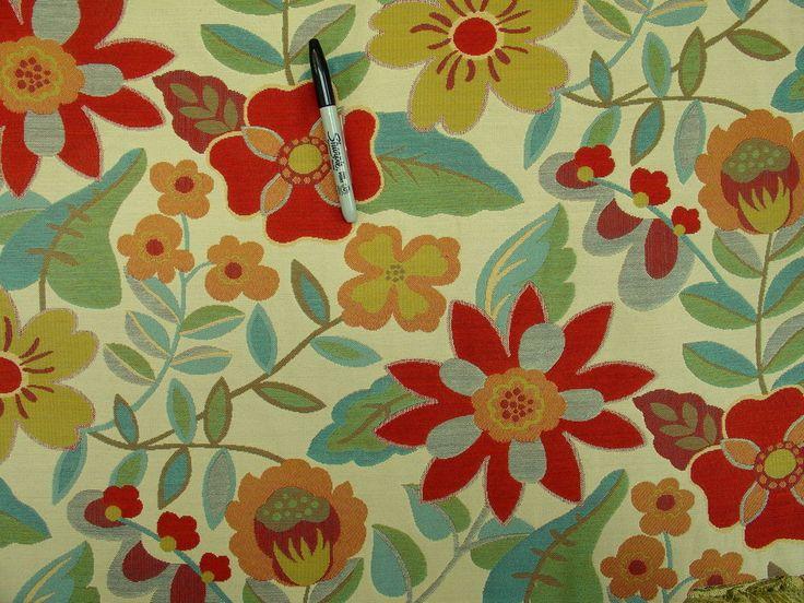 Robert Allen Garden toss floral poppy  Funky Modern Upholstery Fabric