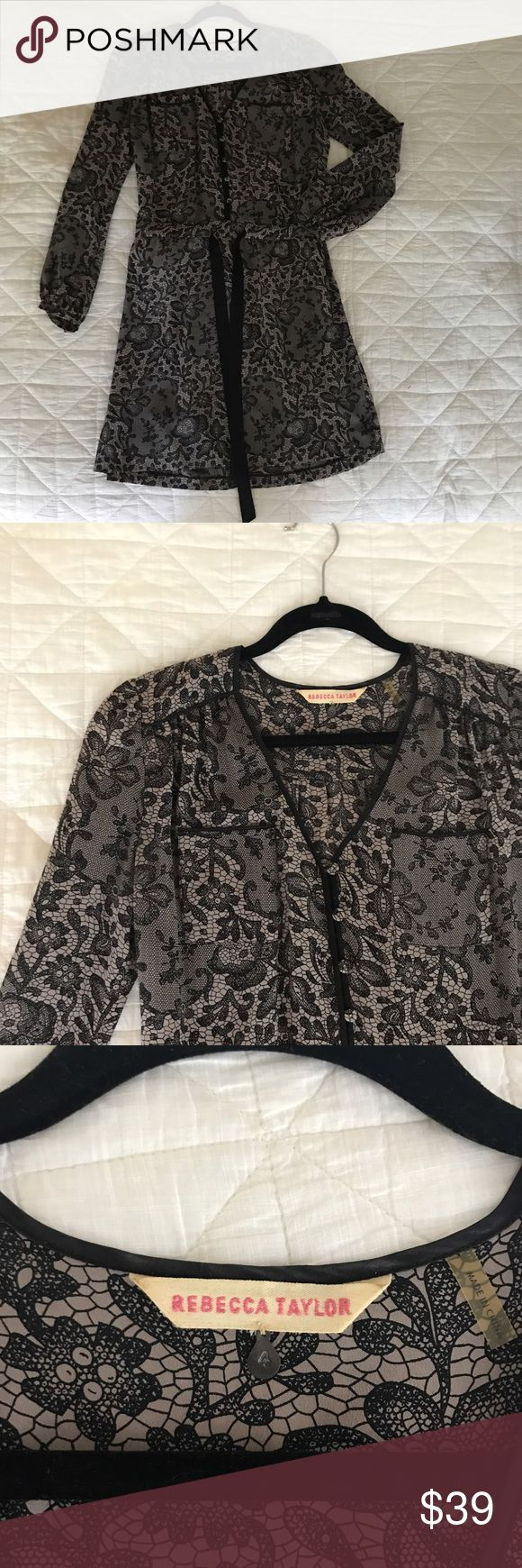 Rebecca Taylor Silk Dress Silk Rebecca Taylor dress with black and taupe lace print. Rebecca Taylor Dresses Long Sleeve