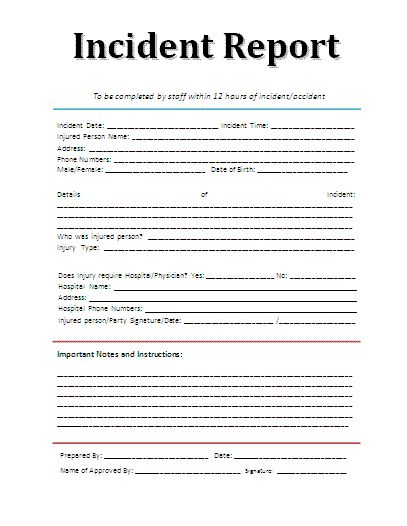 Incident report form template office 2010