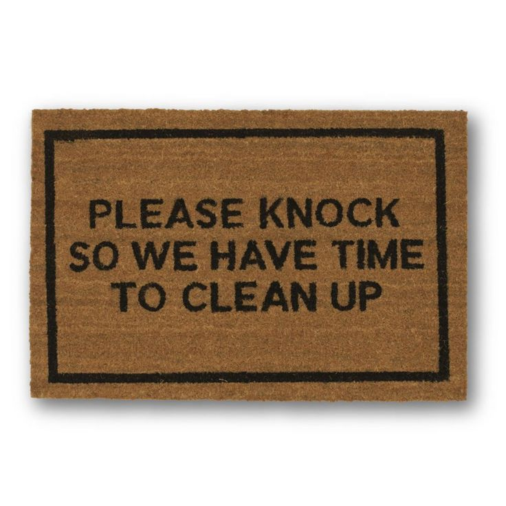Please Knock Brown Coir Doormat - Clever Doormats - $29.99 - domino.com