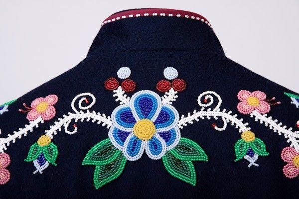 Métis Jacket back beading, beadwork, Louis Riel Institute