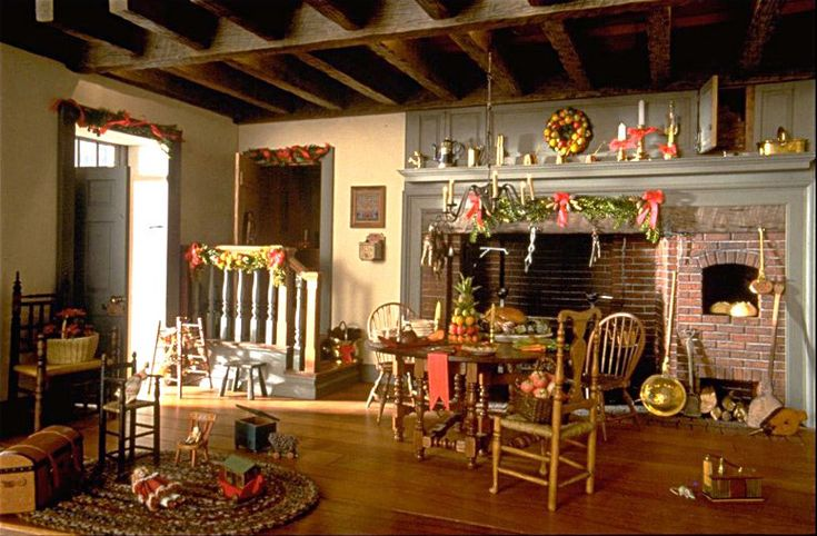 """William R. Robertson - Kitchen from """"Twin Manors"""" at Christmas"""