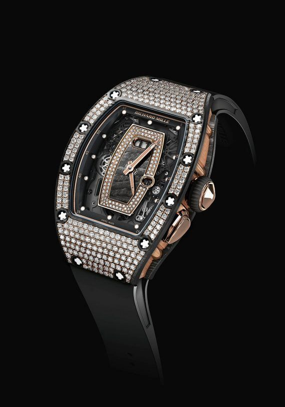 The Richard Mille RM 037 NTPT ladies watch features a gem-set NTPT carbon case. More @ http://www.watchtime.com/wristwatch-industry-news/watches/richard-mille-rm-07-01-and-rm-037-ladies-watches-with-gem-set-ntpt-carbon/ #richardmille #watchtime #ladieswatches