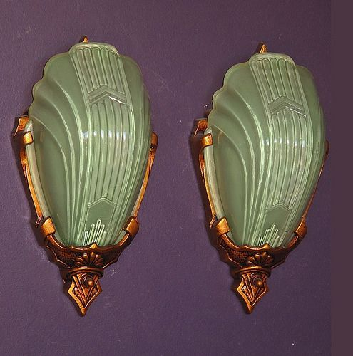 *vintage wall sconces w/ rare green slip shades