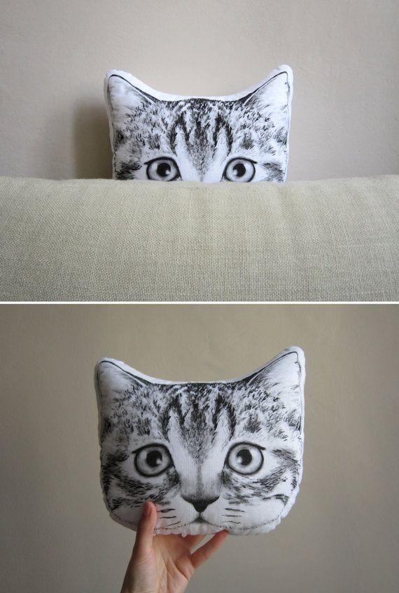 Cat pillow decorative cushion peeking cat for crazy cat ...