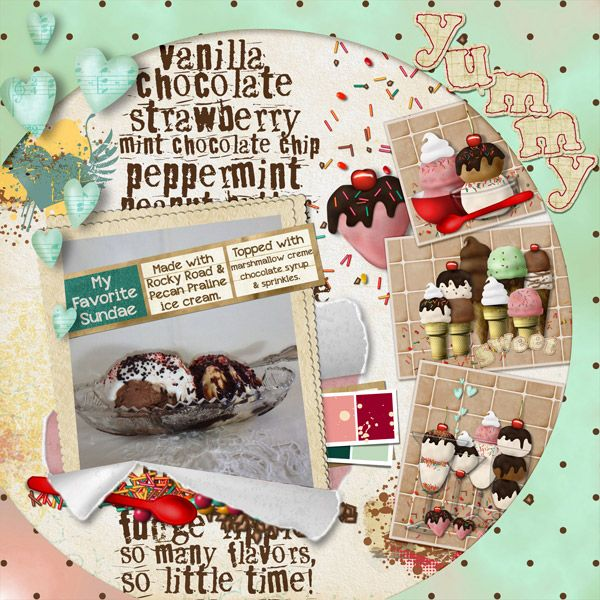 For this page I used the Yummy Ice Cream Dream Kit, and Breakthrough Template both by Elizabeth's Market Cross.