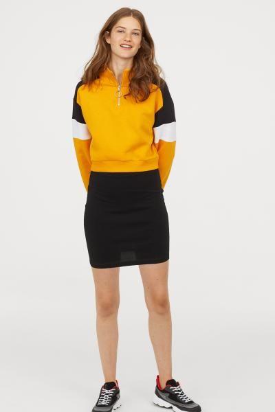 abbb662201f Stand-up Collar Sweatshirt - Yellow black - Ladies