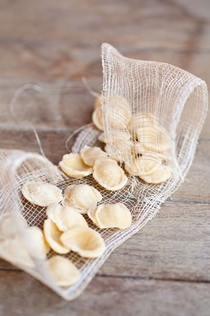 Orecchiette ( with typical short, ear-shaped pasta from Puglia)