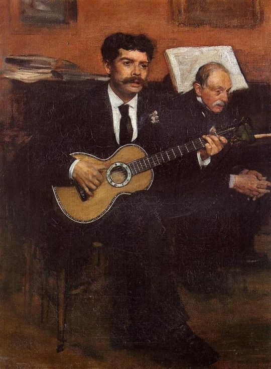 Portrait of Lorenzo Pagans, Spanish tenor, and Auguste Degas, the artist's father by Edgar Degas  Size: 40x54.5 cm  Medium: oil on canvas