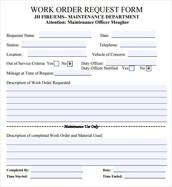 Maintenance Work Order Templates Templates Free Download Order Form Template Templates
