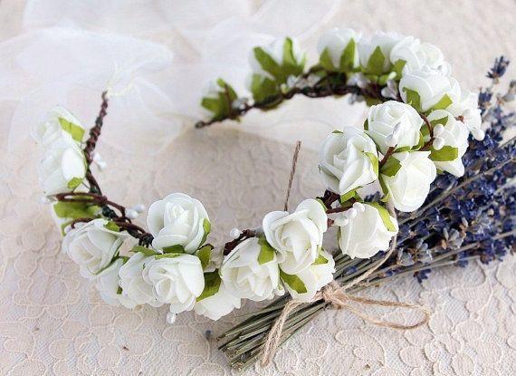 Ivory Rose Wedding Crown Boho Bridal Crown Rose by HandyCraftTS