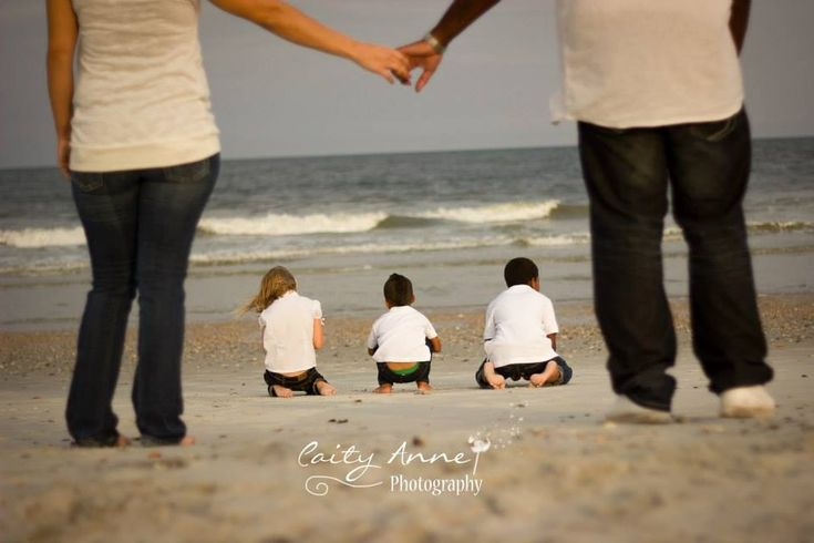 Family Beach Photography Parents Holding Hands Children Playing In Sand Www.facebook.com/caityannephotos