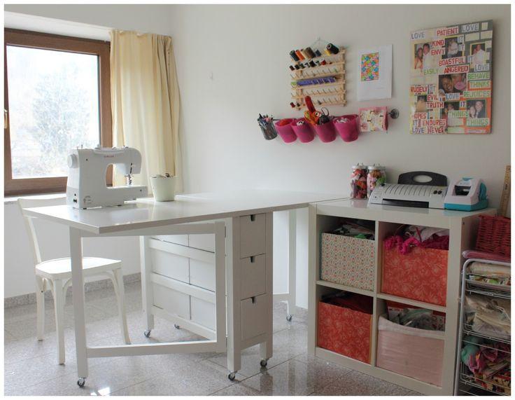 Organizando un rincon en el cuarto de costura con la mesa plegable nordden de Ikea