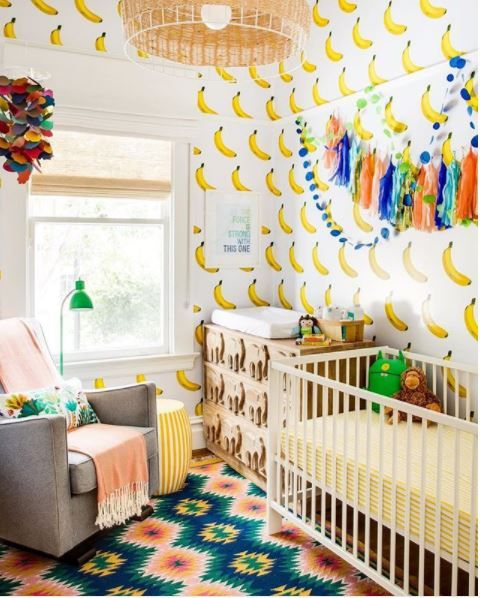 How  fun is the banana wallpaper for a kids room.