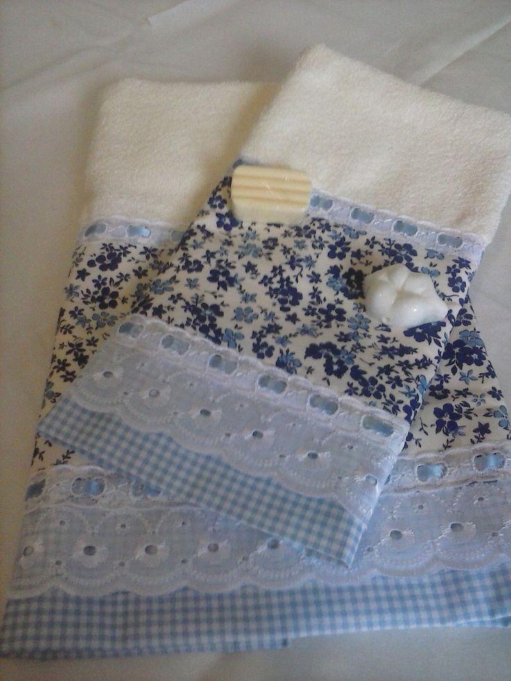 Toalha de Rosto + Toalha de Lavabo  Diversos tipos de barrado  100% algodão