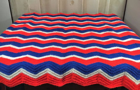 "Vintage Crochet Afghan Throw Handmade 60"" X 40""  Chevron  Red White and Blue"
