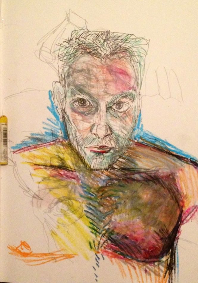 Self portrait with bed hair, in ink and pastels, by Michael Fredman