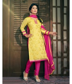 Vivacious Yellow Chanderi Cotton Dress Material $15.Look gorgeous with the Vivacious Yellow Chanderi Cotton Dress Material from the house of Lurap. The bright yellow Chanderi cotton kameez is set off to perfection by an equally vibrant shade of pink in the bottom and dupatta.