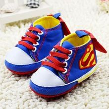 O Envio gratuito de Primavera Do Bebê Sapatas de Lona Da Menina do Menino Batman Superman Bebê Toddler Sapatos Sapatos De Bebe Primeiros Caminhantes(China)